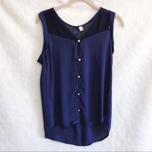 Tops - Blue Sleeveless White Buttoned Tank Top